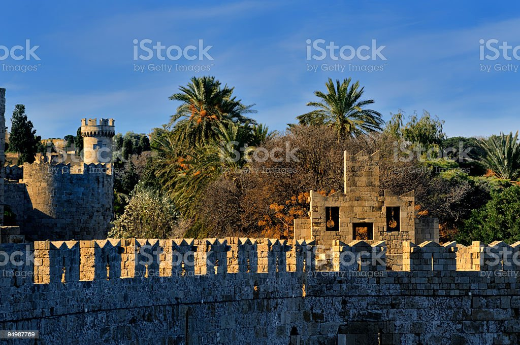 Rhodes town medieval wall stock photo