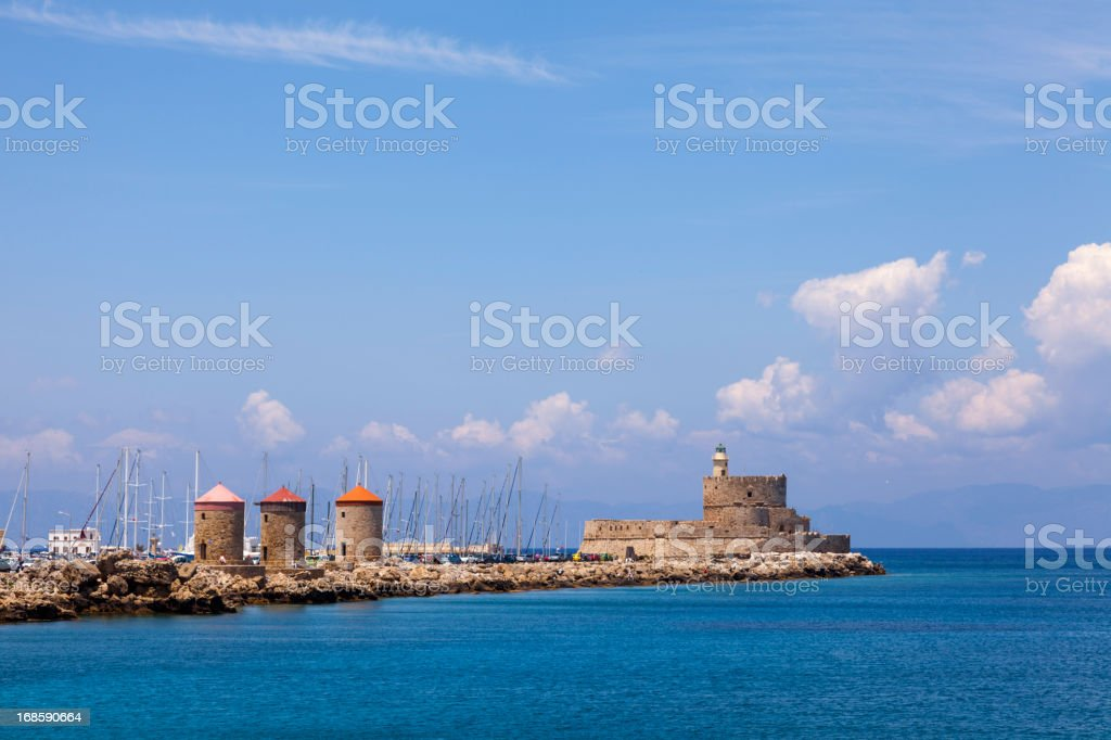 Rhodes Windmills and fort stock photo