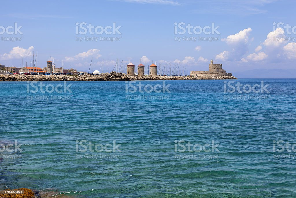 Rhodes Windmills and fort. stock photo