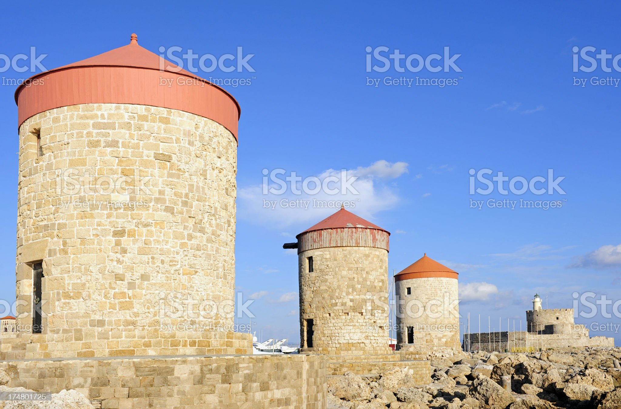 Rhodes Windmills royalty-free stock photo