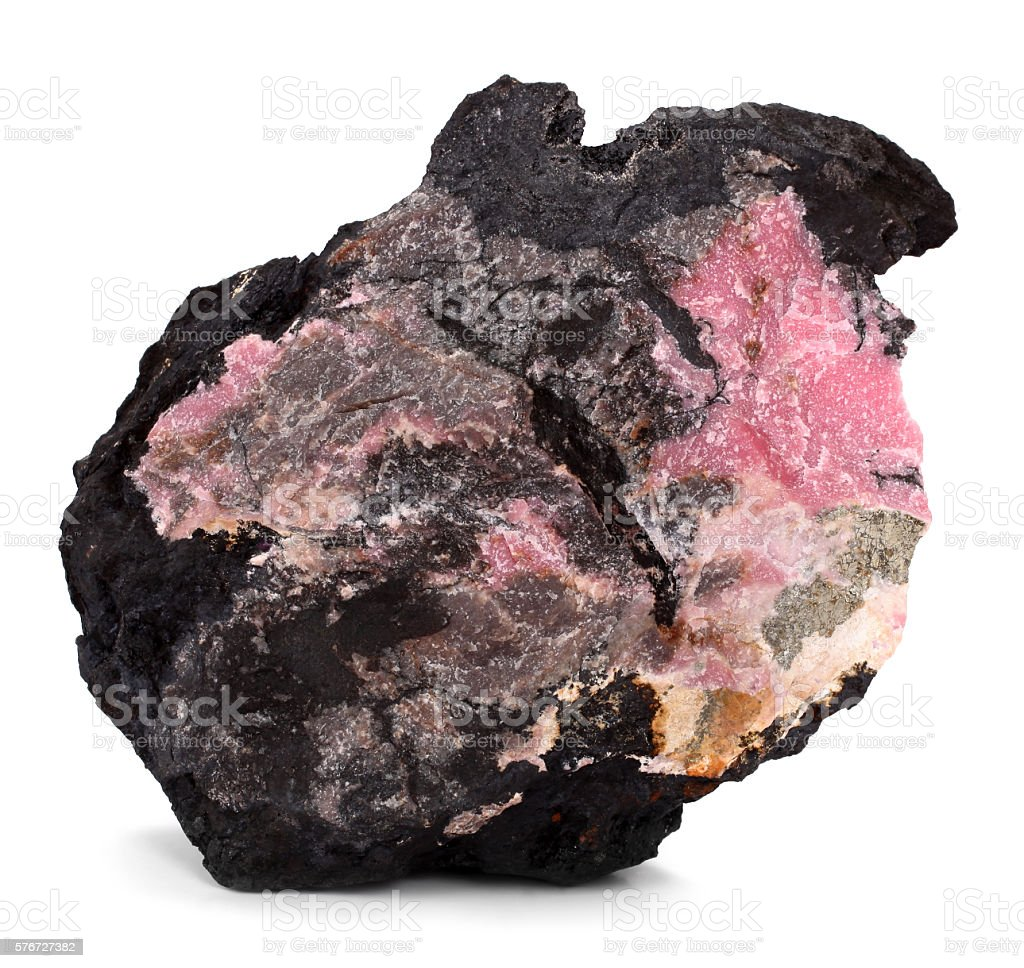 Rhodonite gemstone stone mineral stock photo