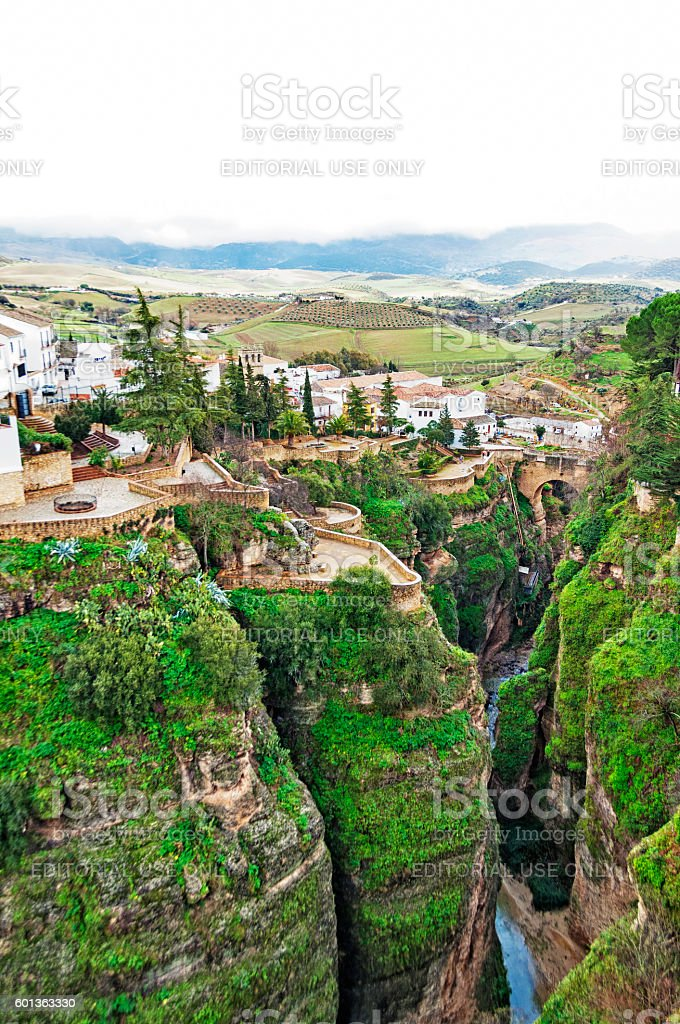 Rhonda Spain from above and the beautiful Countryside stock photo