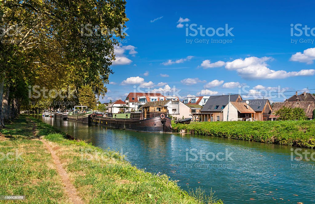 "Rhone a€"" Rhine Canal in Alsace, France stock photo"