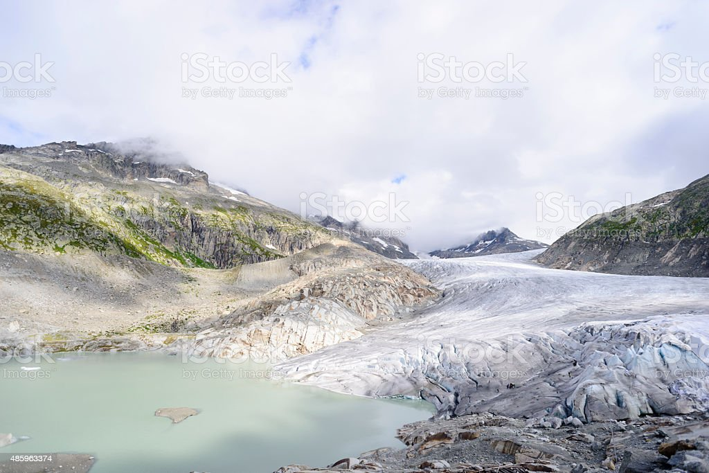 Rhone Glacier and Lake in the Swiss Alps stock photo