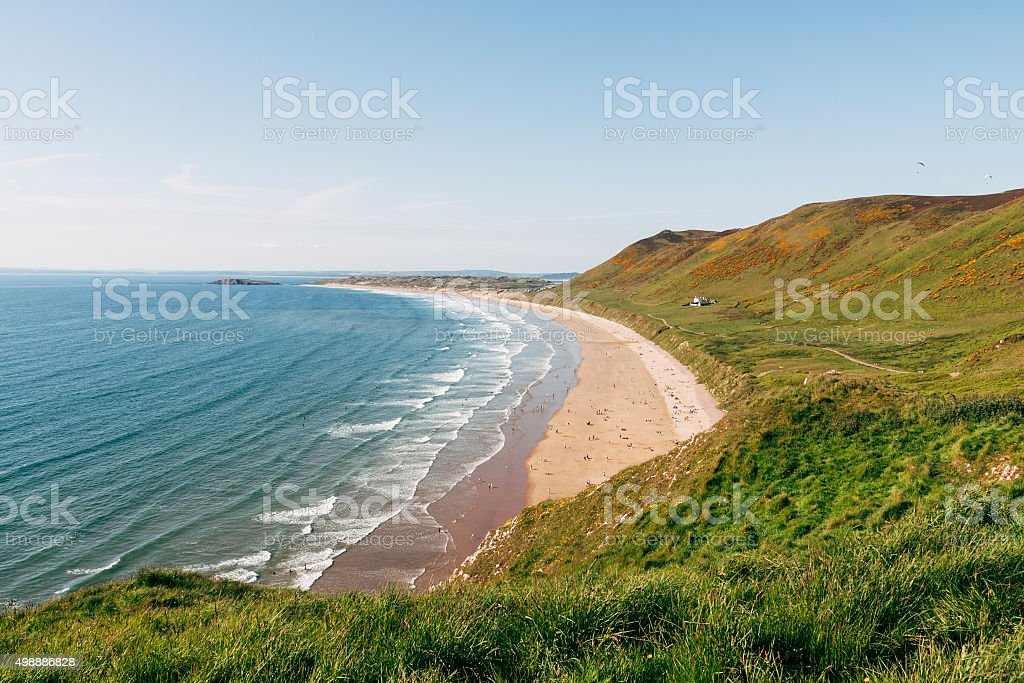 Rhossili Bay and beach on the Gower South Wales stock photo