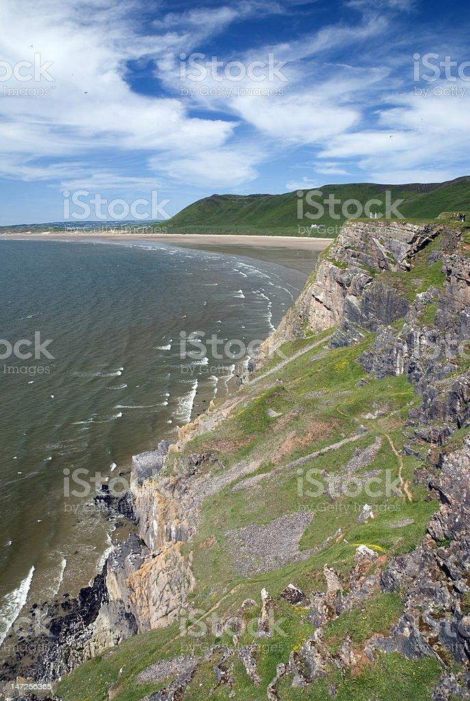 Rhossili bay - Gower Peninsula. Wales royalty-free stock photo