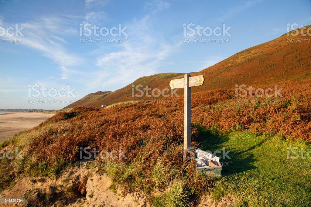 Rhossili Bay - Sign Post stock photo