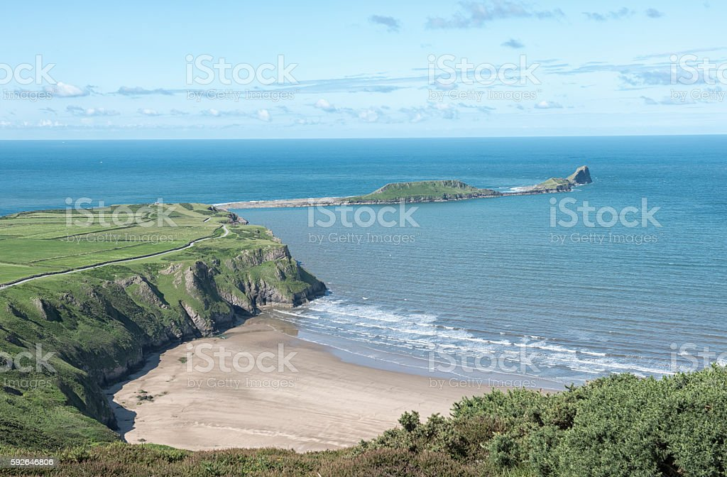 Rhossili Bay with Wormshead in the distance stock photo
