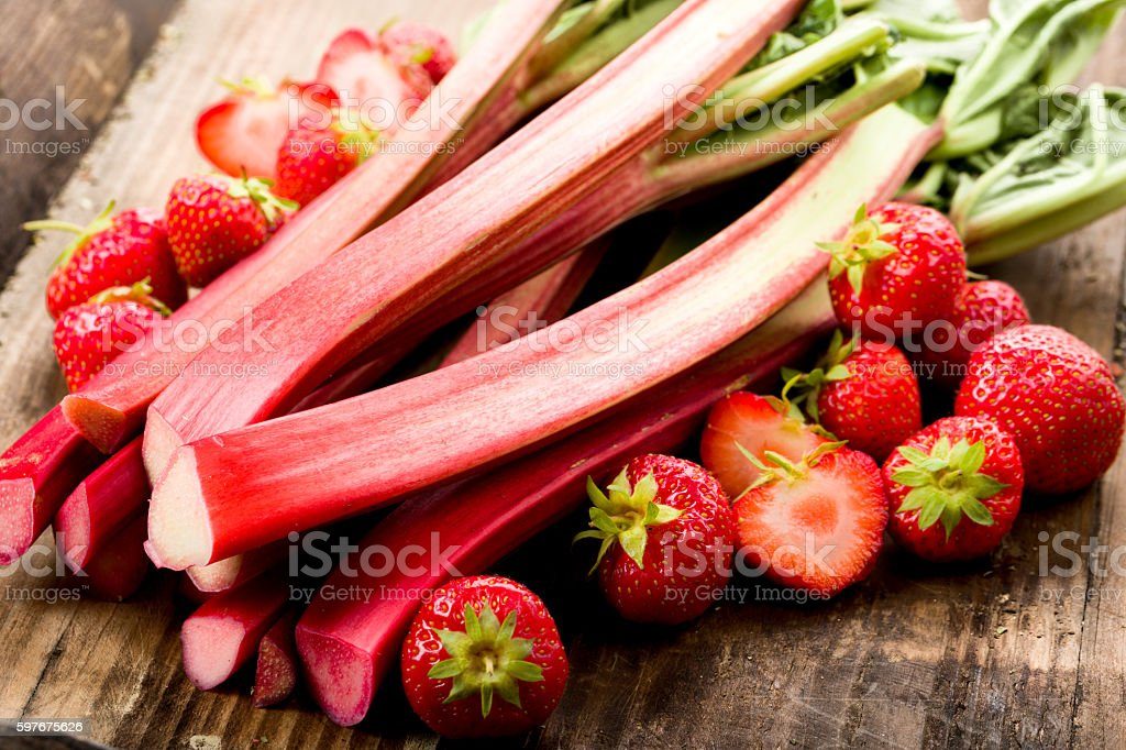 Rhubarb and strawberries stock photo