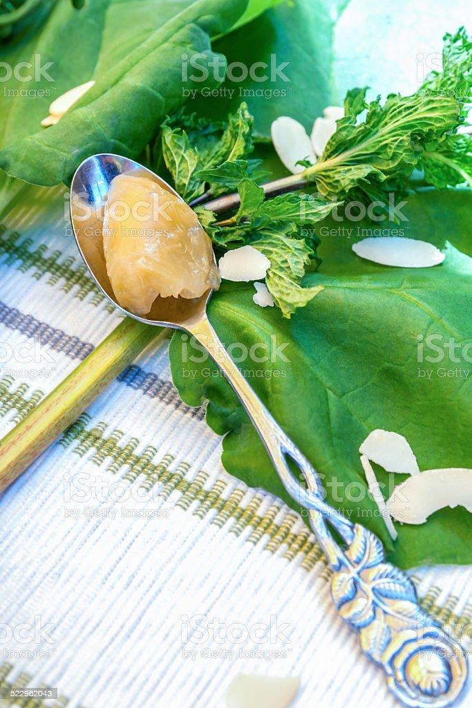Rhubarb dessert with mint stock photo
