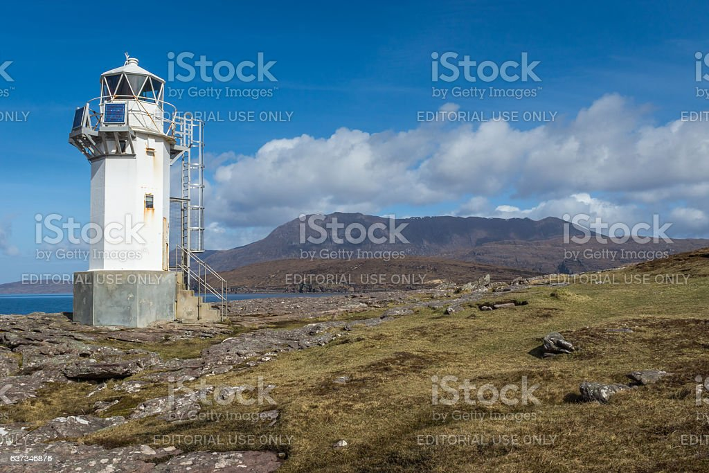 Rhue Lighthouse and Coigach stock photo