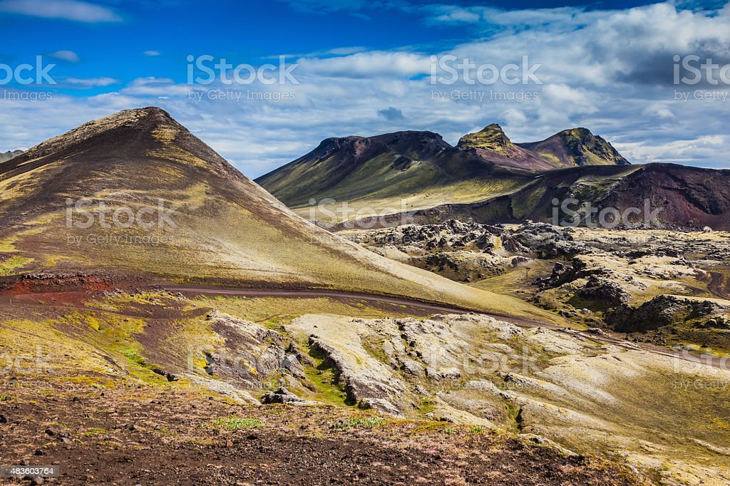 Rhyolite mountains, covered with moss stock photo