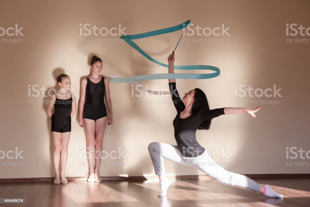 Rhythmic gymnastics. Ballet master class. Ballerinas lessons...
