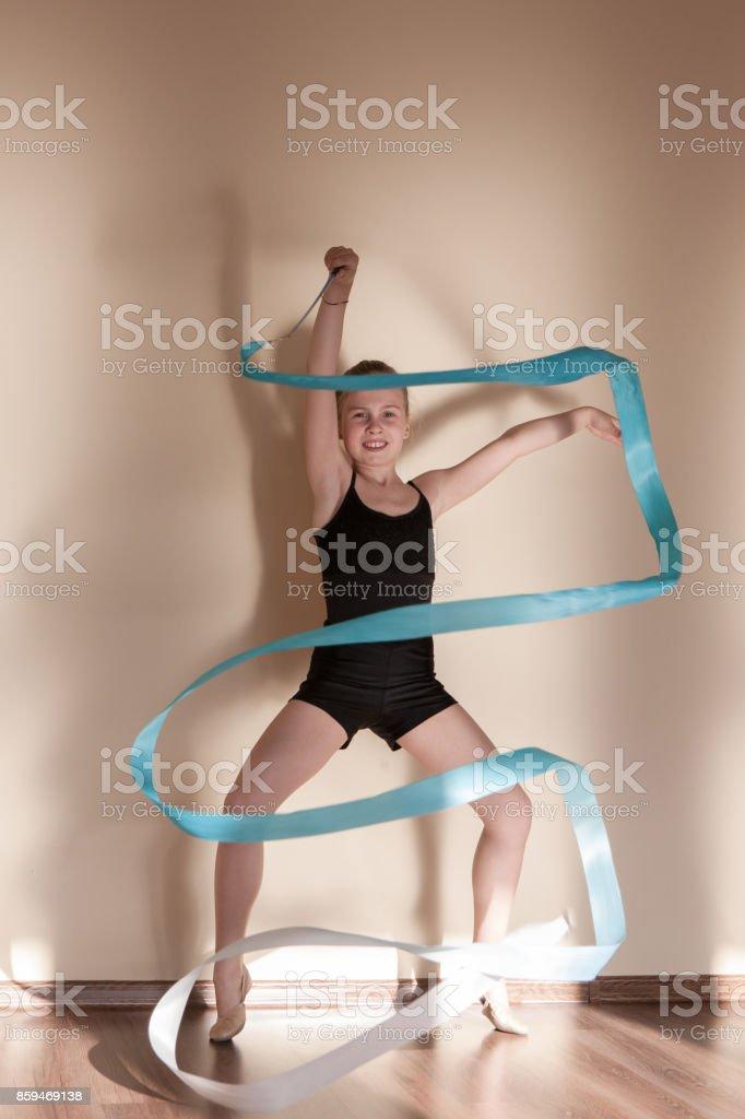 Rhythmic gymnastics. Strong confident ballerina. Teenage sport,...