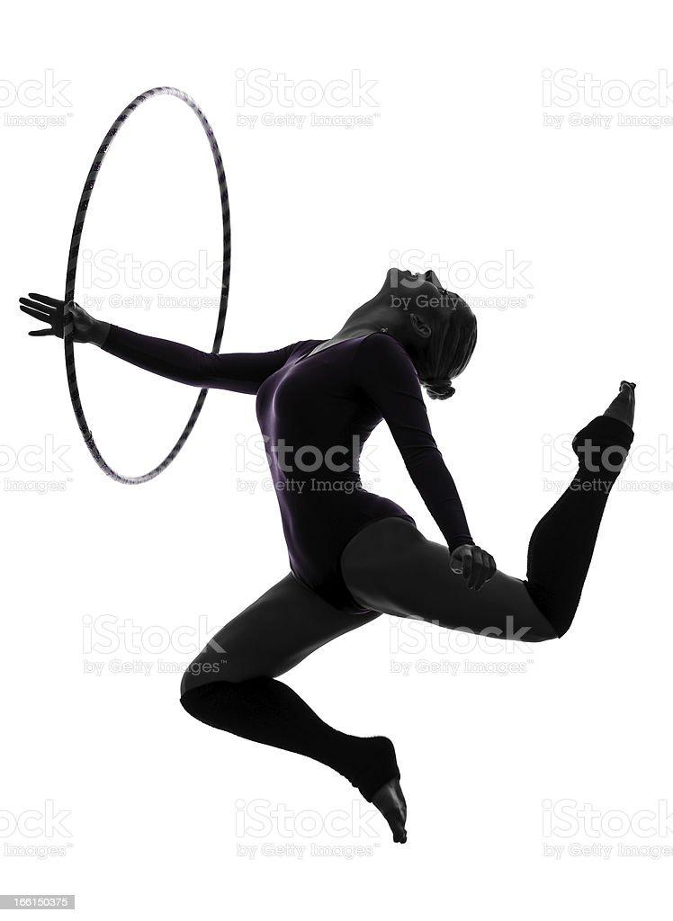 Rhythmic Gymnastics with hula hoop woman silhouette stock photo