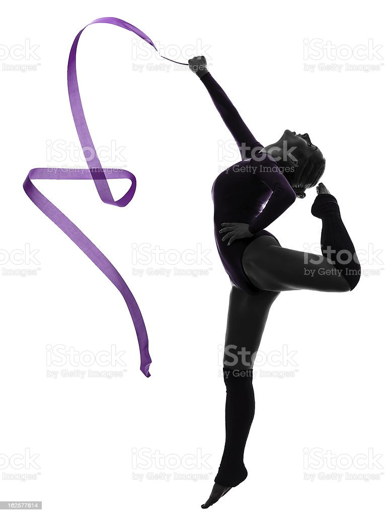 Rhythmic Gymnastics with ribbon woman silhouette stock photo