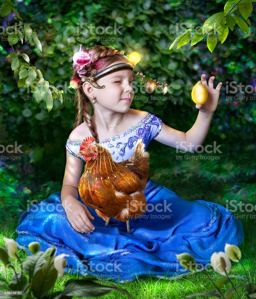 Riaba the Hen  that lays the golden eggs stock photo
