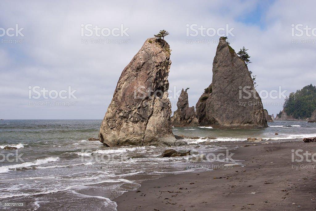 Rialto Beach, Olympic NP, WA, USA stock photo