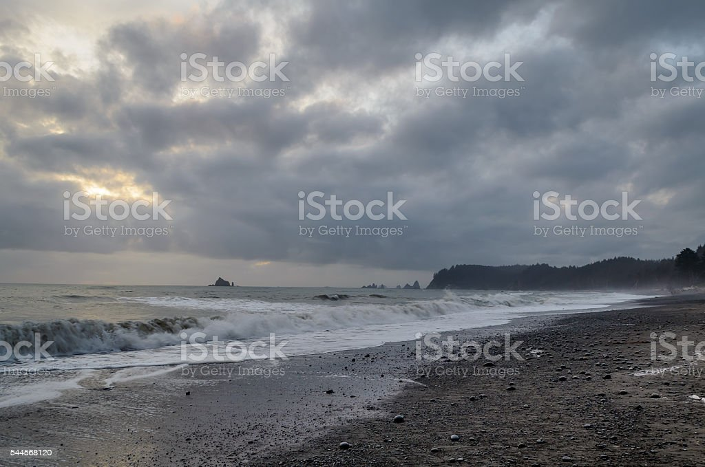 Rialto beach on a cloudy day, Olympic National Park stock photo