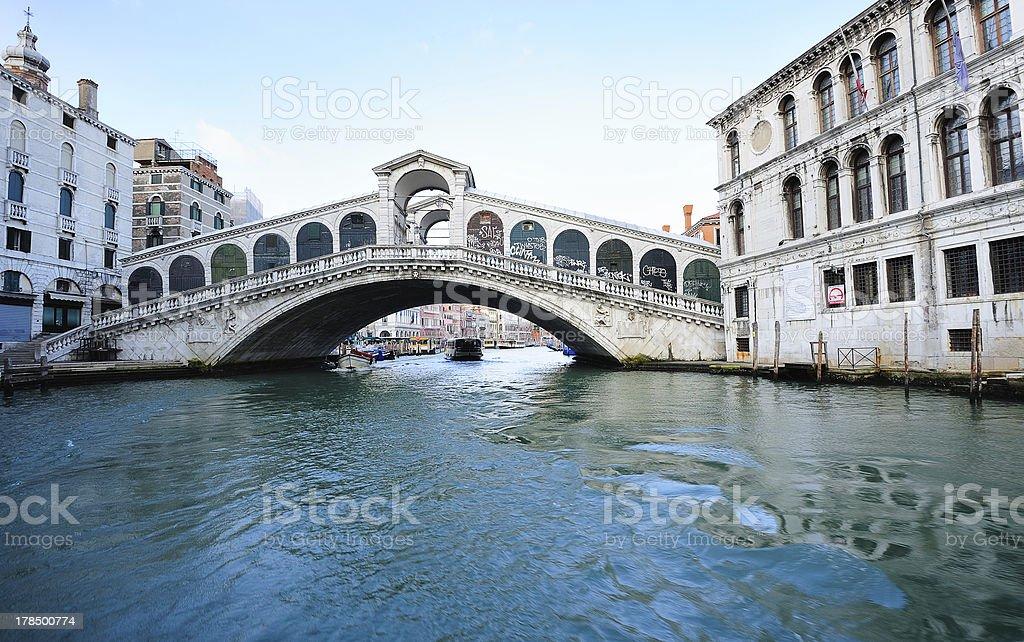 Rialto Bridge and Grand Canal in Venice royalty-free stock photo