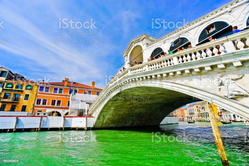 Rialto Bridge and Grand Canal in Venice stock photo