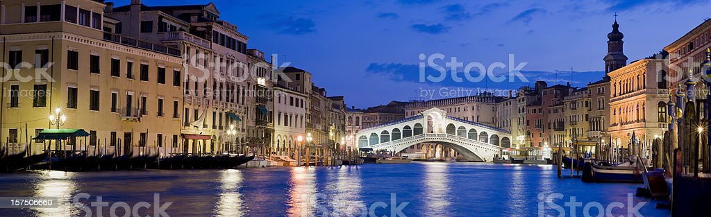 Rialto Bridge and Grand Canal Venice Italy royalty-free stock photo