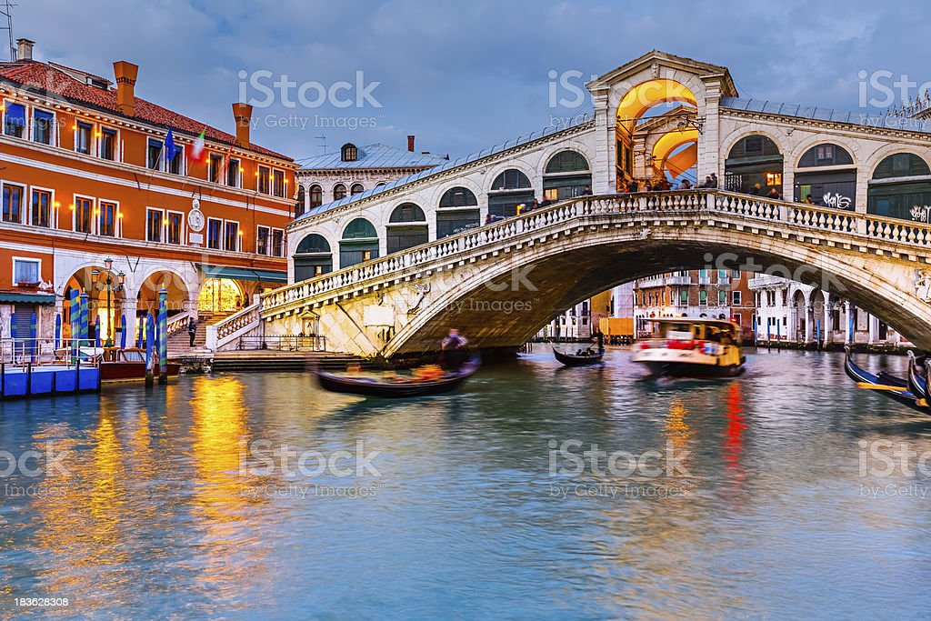 Rialto Bridge at dusk stock photo