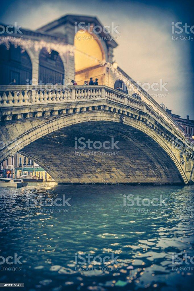 Rialto Bridge at dusk royalty-free stock photo