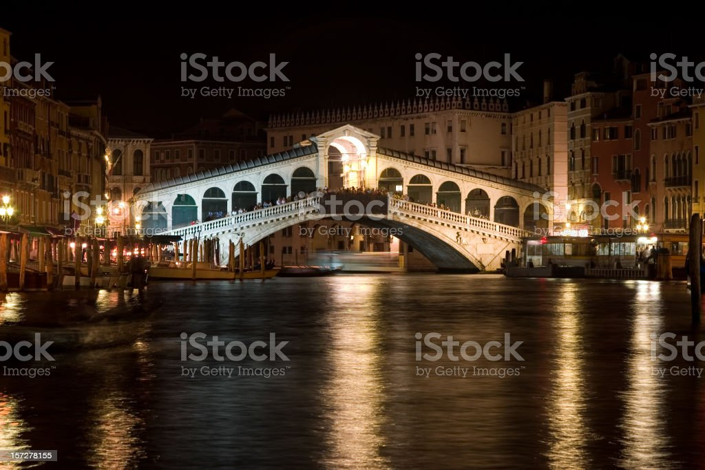 rialto bridge at night royalty-free stock photo