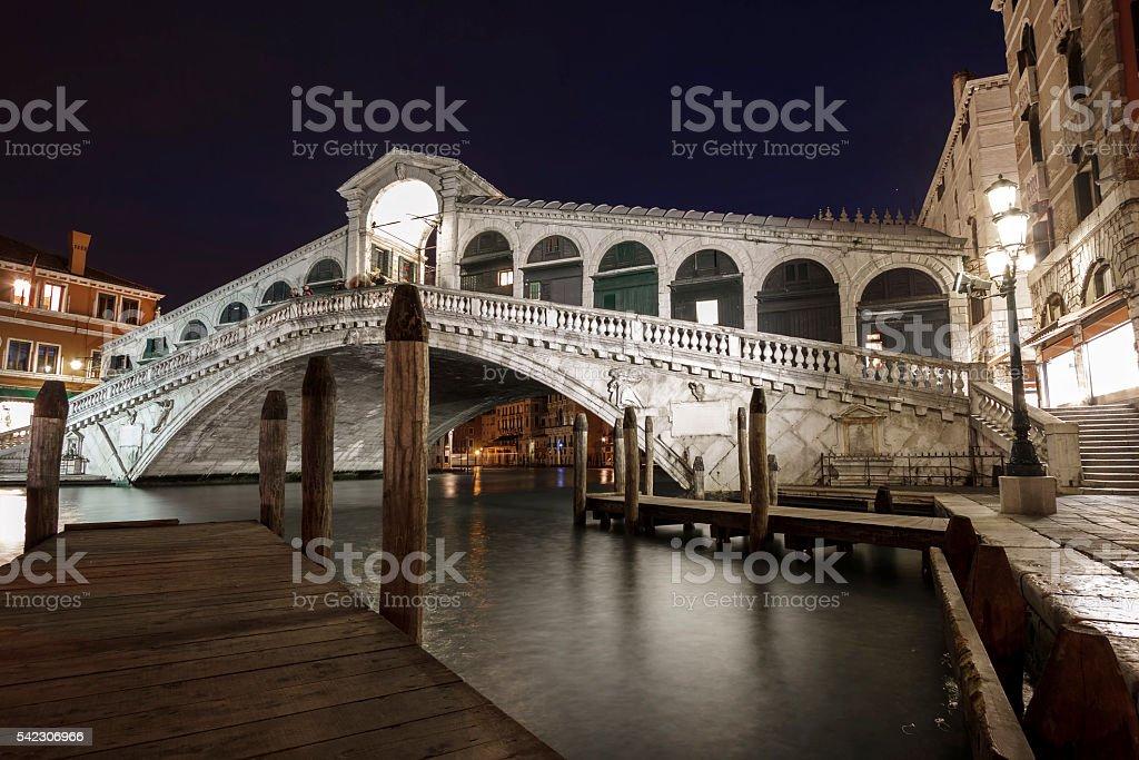 Rialto Bridge at night, Venice, Italy stock photo