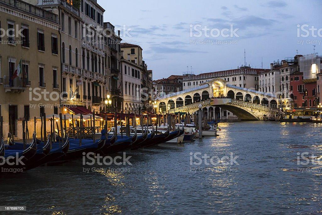 Rialto bridge at sunset, Venice, Italy royalty-free stock photo