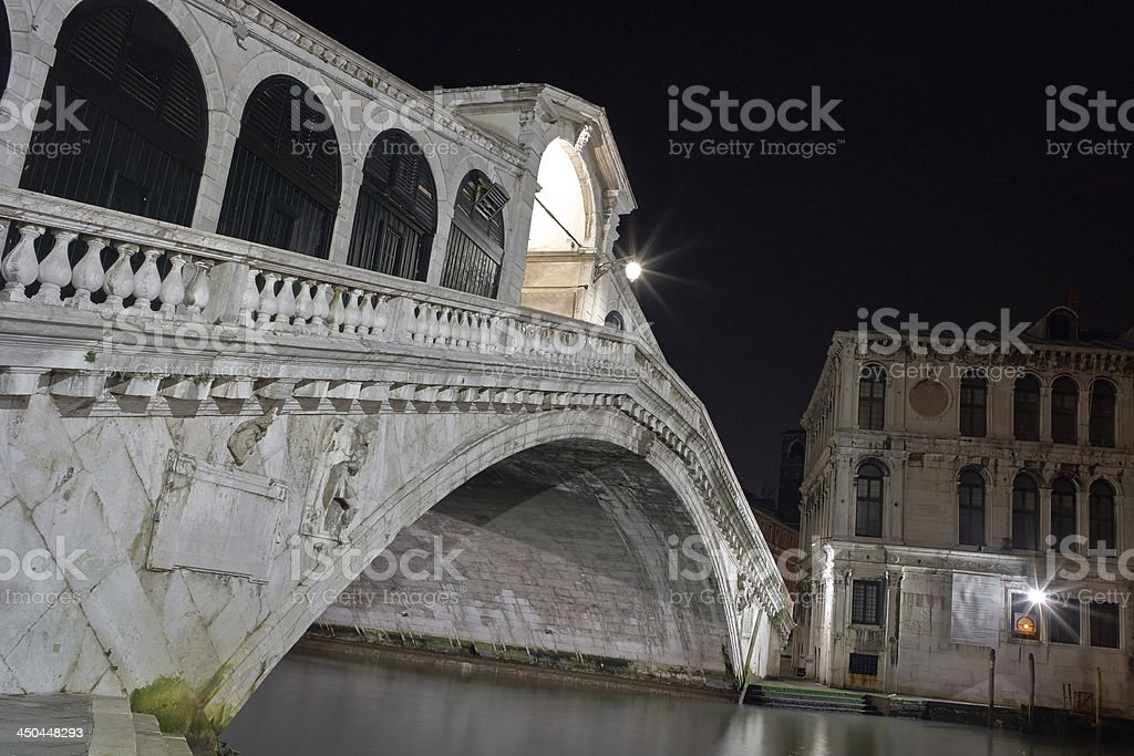 Rialto Bridge Venice Long exposure By Night. royalty-free stock photo
