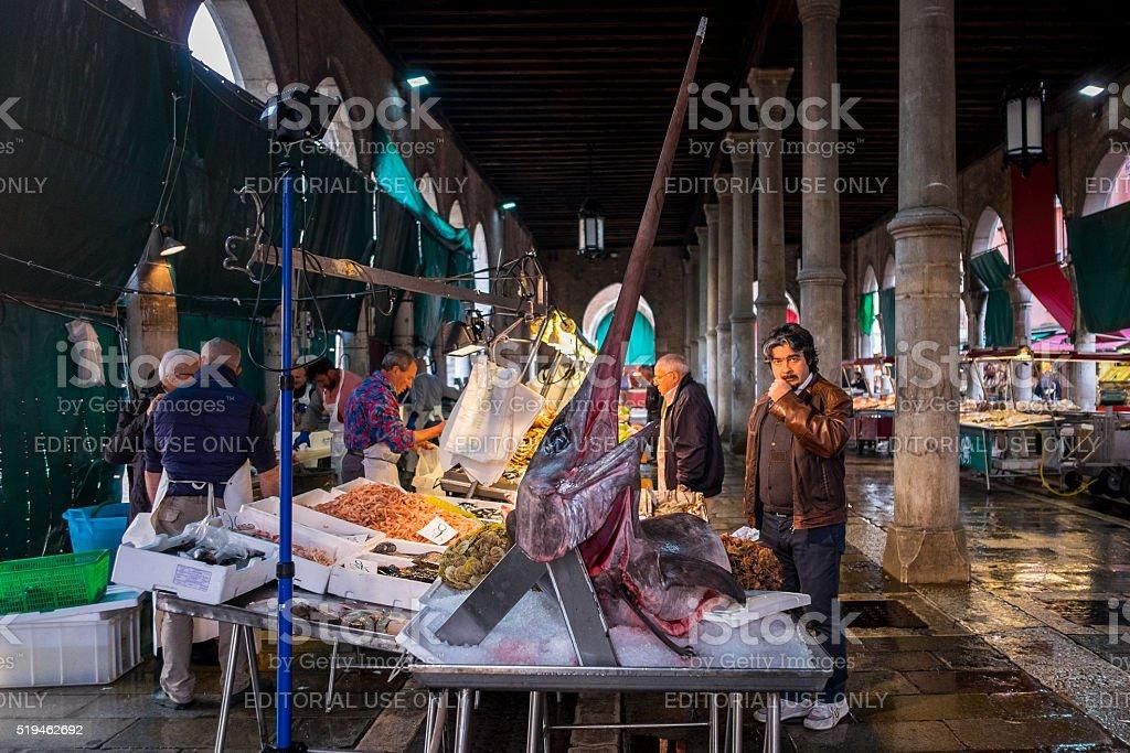 Rialto Fish Market. Venice, Italy stock photo