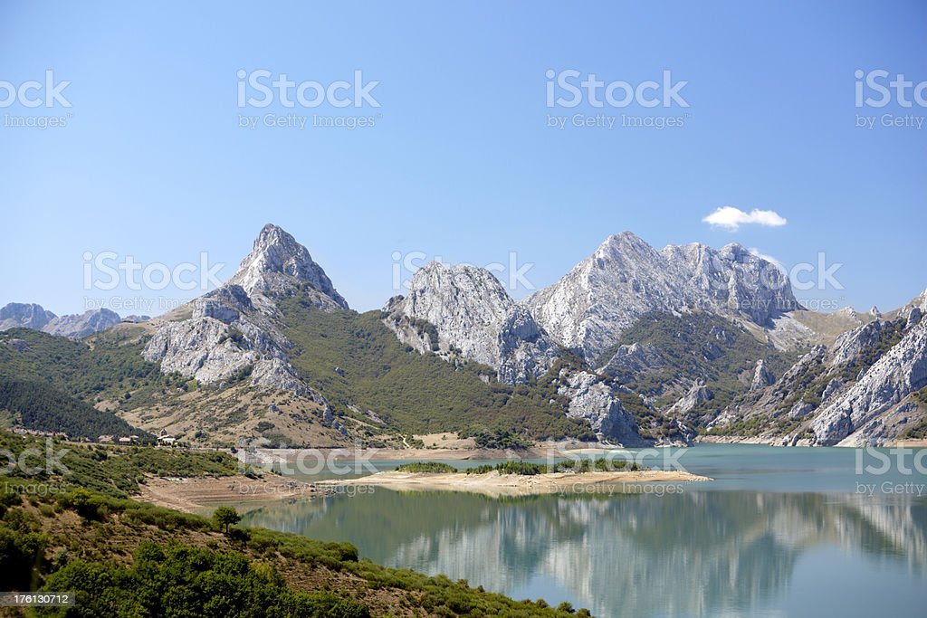 Riano and Picos de Europa stock photo