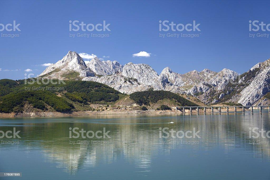 Riano reservoir with clear sky, Asturias, Picos de Europa stock photo