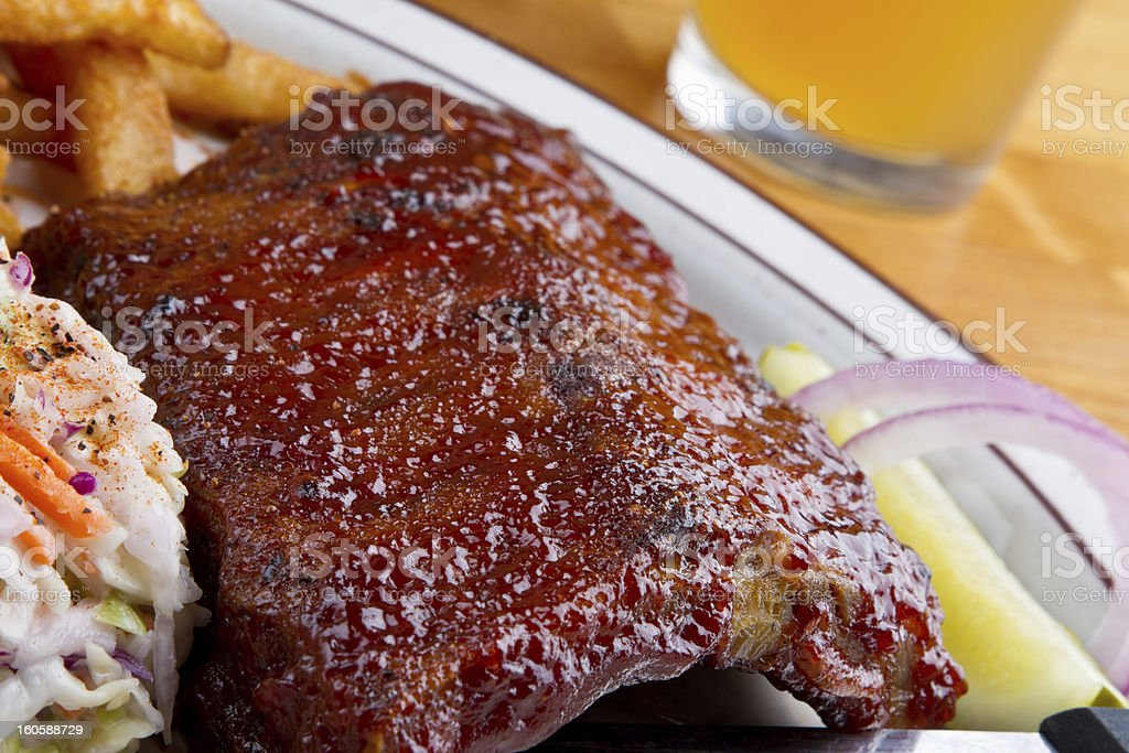 Rib Dinner with French Fries, Cole Slaw and beer stock photo