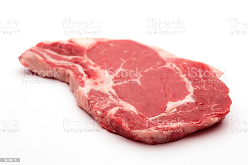 Rib eye on the bone Steak beef meat raw on white stock photo