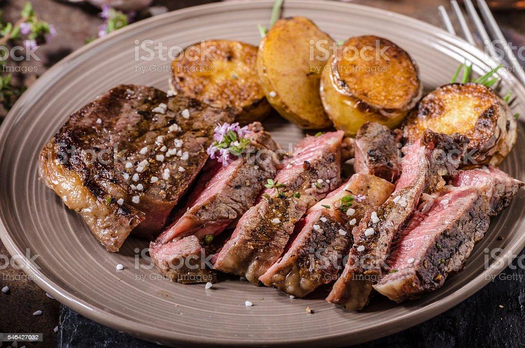 Rib eye steak stock photo