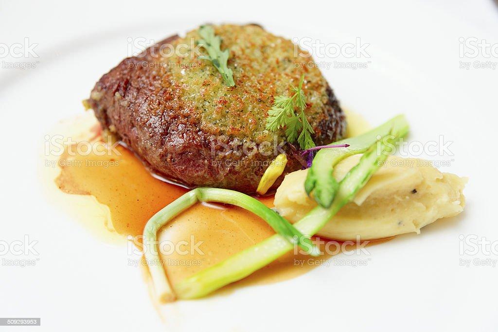 Rib eye steak with potato puree royalty-free stock photo
