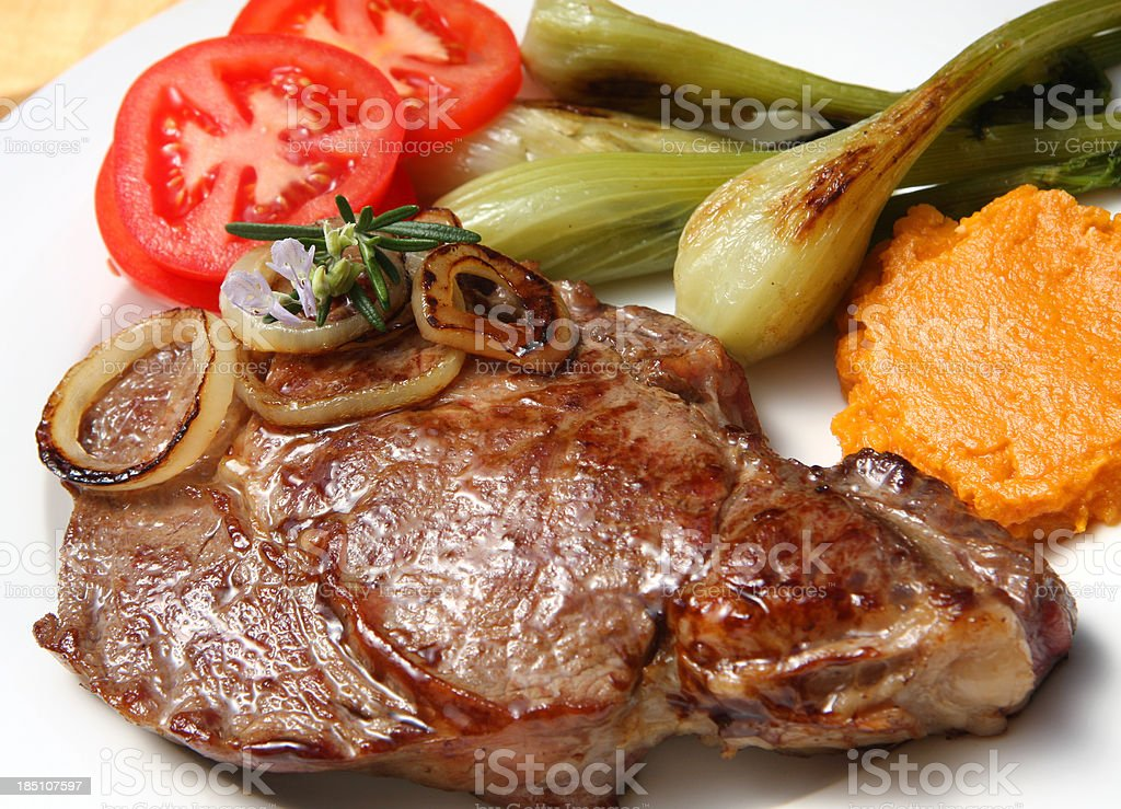Rib Eye Steak with vegetables stock photo