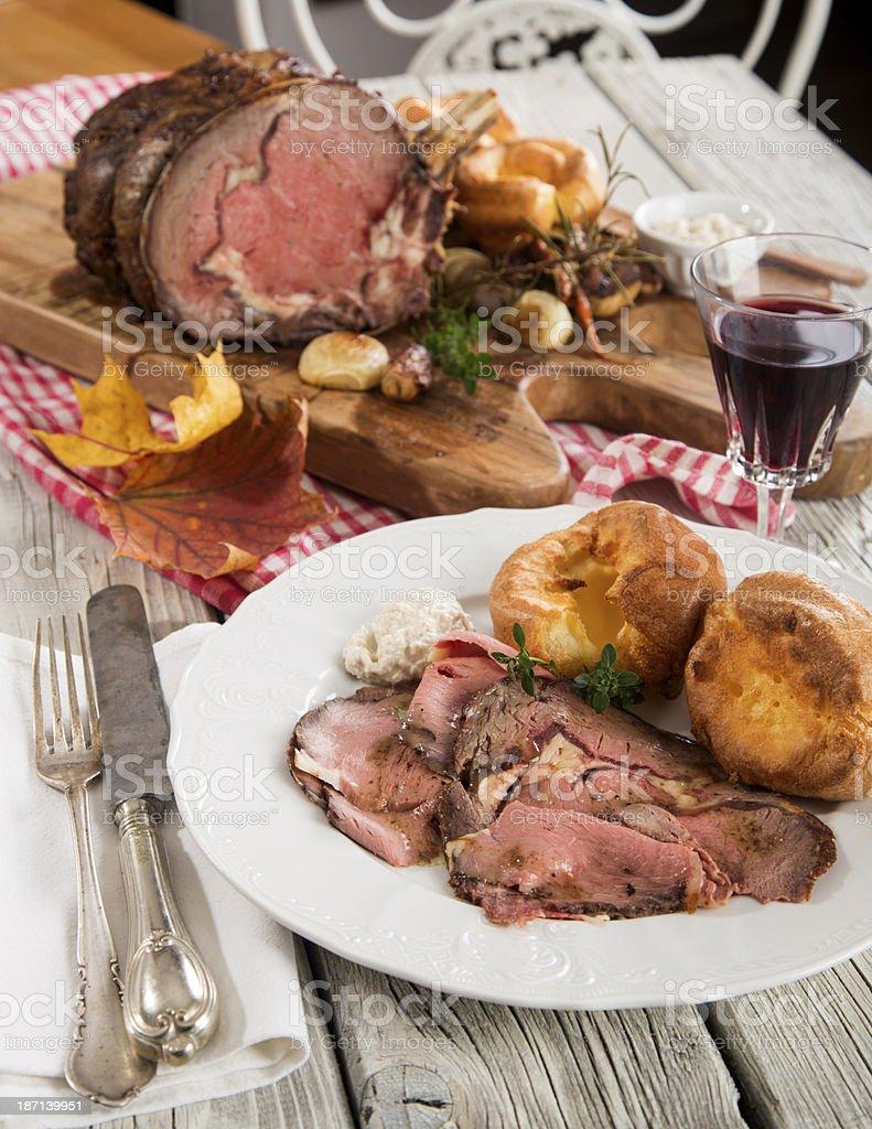 Rib Roast Dinner stock photo