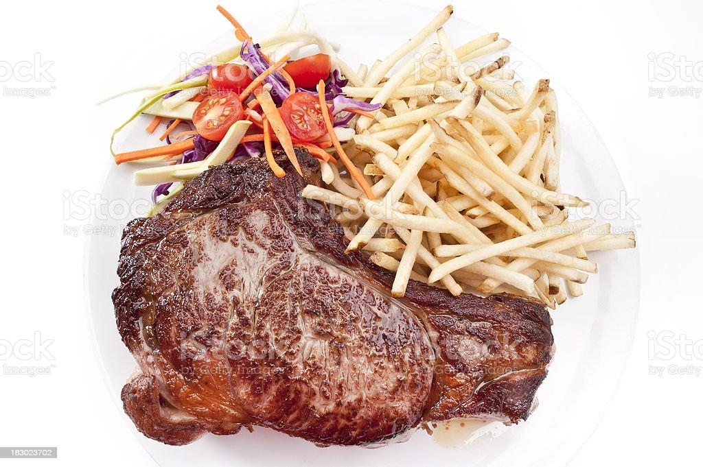 rib steak and fries royalty-free stock photo