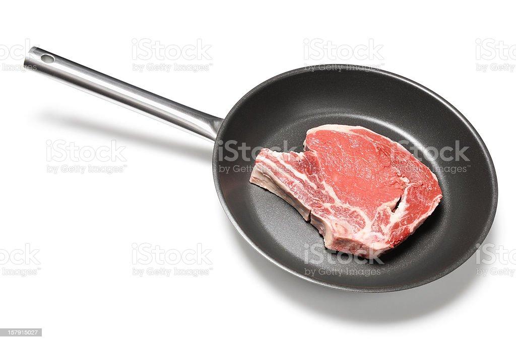 Rib steak in frying pan stock photo
