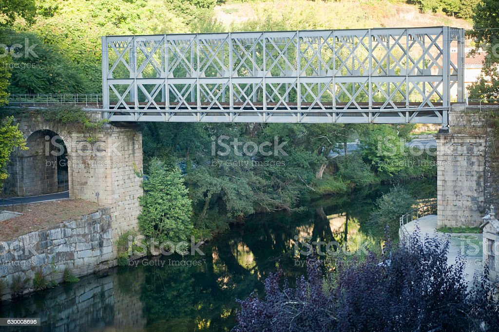 Ribadavia railway bridge ,Avia river in Galicia, Spain. stock photo