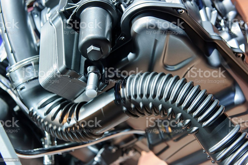 Ribbed curved pipe stock photo
