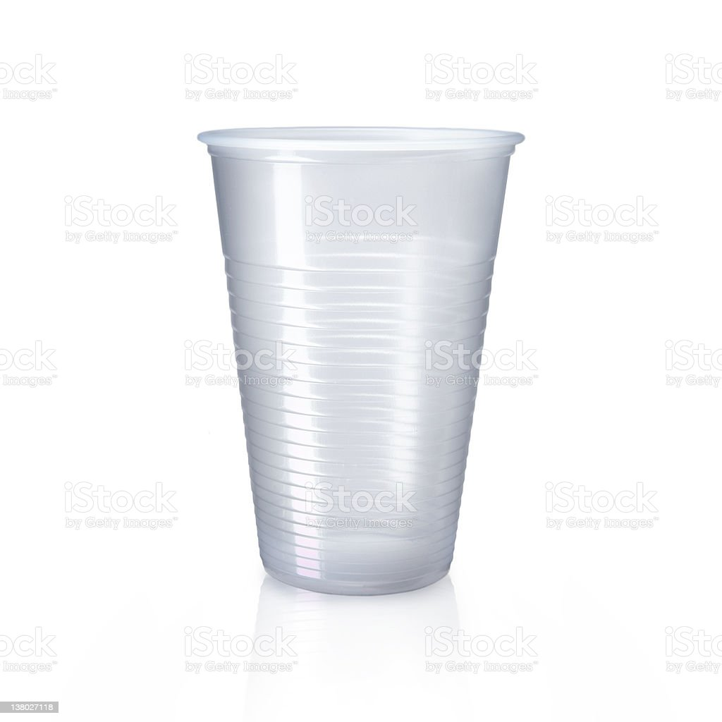 Ribbed plastic drinking cup on white background royalty-free stock photo