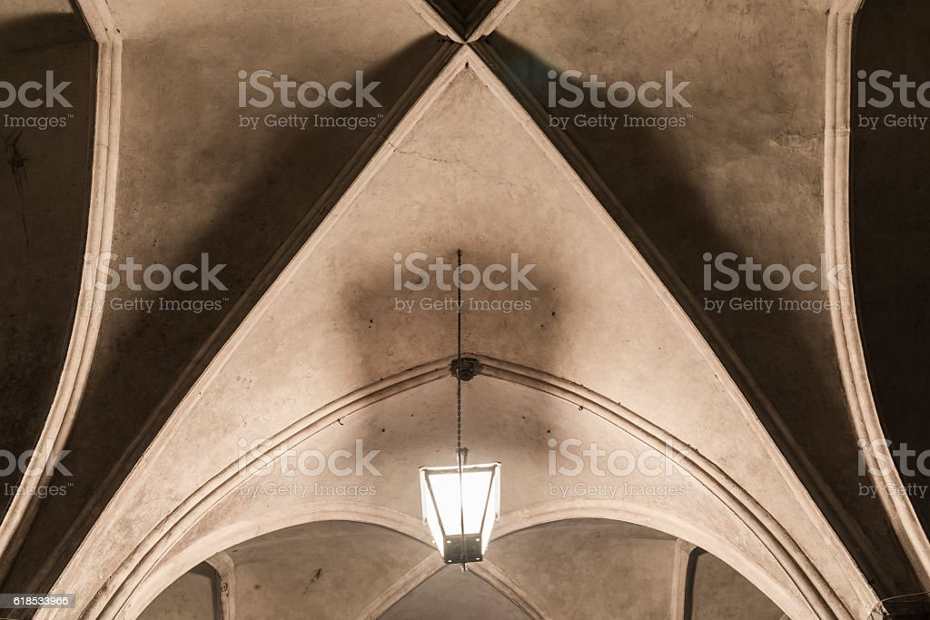 Ribbed vault of the town hall in luebeck stock photo