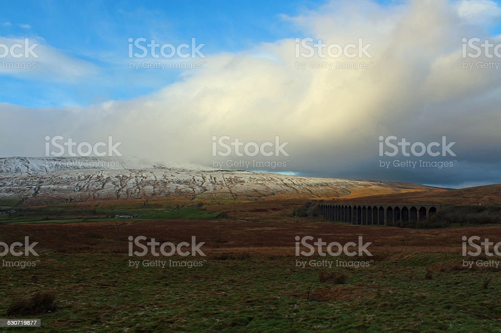 Ribblehead Viaduct in the snow stock photo