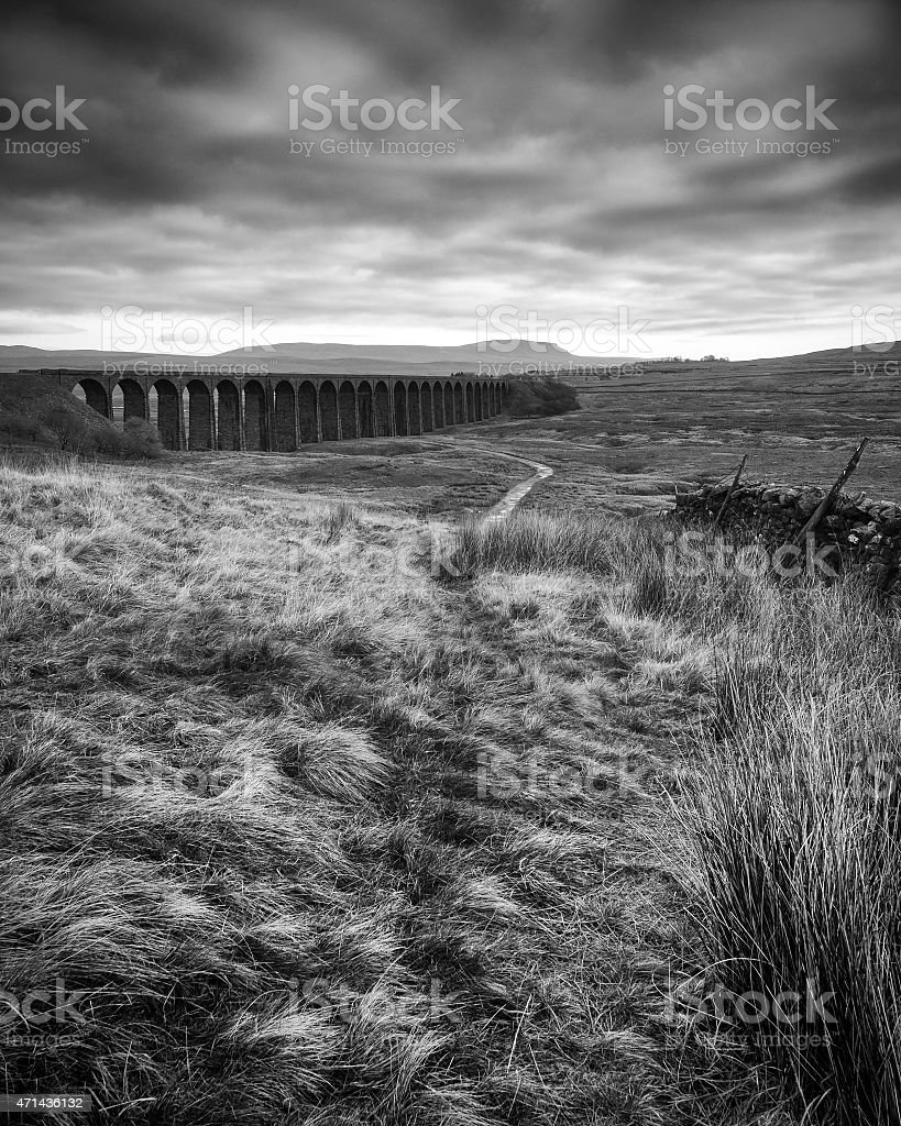 Ribblehead Viaduct, Pen-y-ghent, North Yorkshire, UK stock photo