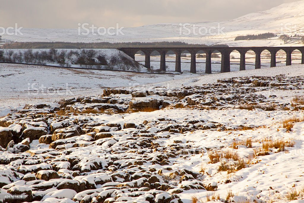 Ribblehead viaduct with snow in winter, Yorkshire Dales stock photo